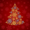 Christmas snowflakes tree silver and gold on dark red background Royalty Free Stock Photo