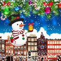 stock image of  Christmas snowman on the background of snow-covered streets.