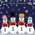 Christmas Snowman Carolers Singing Stock Image
