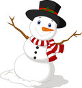 Christmas Snowman cartoon wearing a Hat and red scarf Royalty Free Stock Photo