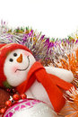 Christmas snowman with decoration balls Royalty Free Stock Photo
