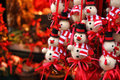 Christmas snowman decorations at a Christmas market Royalty Free Stock Photo