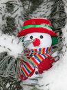 Christmas snowman on pine tree stock photos funny toy ornament snow and needles background outdoors Stock Photography