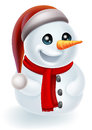 Christmas snowman in santa hat illustration of a cartoon a and red scarf Royalty Free Stock Photography