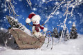 Christmas Snowman in Sleigh 2 Royalty Free Stock Photo