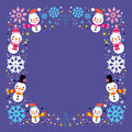 Christmas snowman & snowflakes winter holiday frame border background Royalty Free Stock Photo