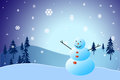 Christmas snowman standing in a winter landscape Royalty Free Stock Photos