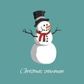 Christmas snowman in a top hat, scarf and with a pipe