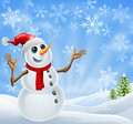 Christmas Snowman winter landscape Stock Photography