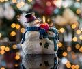 Christmas snowmen candle at xmas Royalty Free Stock Photo