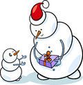 Christmas snowmen cartoon illustration of snowman as santa claus character giving present or gift to little one Royalty Free Stock Photos