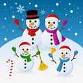 Christmas snowmen family a funny cartoon with four snowman in a snowy scene eps file available Stock Images