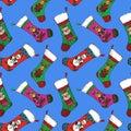 Christmas sock with Santa, bear, deer and snowman Royalty Free Stock Photo