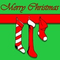 Christmas socks card with and greetings Stock Photography