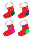 Christmas socks collection of red illustration Royalty Free Stock Photos