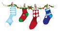 Christmas socks colorful decoration tendril with Stock Image