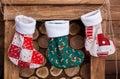 Christmas socks on fireplace.