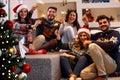 Christmas sparklers- people enjoying party on Christmas Royalty Free Stock Photo