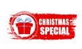 Christmas special and gift box on red drawn banner text sign business holiday concept Stock Images
