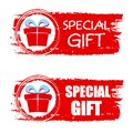 Christmas special gift and present box on red drawn banner text sign business holiday concept Royalty Free Stock Photo