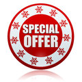 Christmas special offer on red circle banner with snowflakes sym d white text and symbols business holiday concept Royalty Free Stock Photo