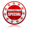 Christmas special red circle banner with snowflakes symbol d white text and business concept Stock Images