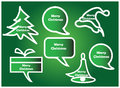 Christmas speech bubbles set of in green Royalty Free Stock Photos