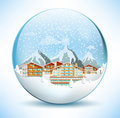 Christmas sphere the tourist center in the alps vector illustration of glass Stock Image