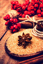 Christmas spices for holiday baking cinnamon sticks and star a anise with red berries on brown sugar macro Royalty Free Stock Photos