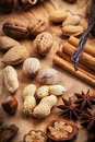 Christmas spices and nuts Royalty Free Stock Photo