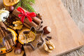 Christmas spices, nuts and cutters Royalty Free Stock Photo