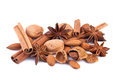 Christmas spices and nuts on white background Royalty Free Stock Photos