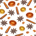 Christmas spices seamless pattern