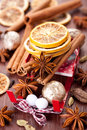 Christmas spices: star anise, cinnamon, cardamom a Stock Photos