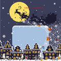 Christmas square card santa claus coming to city the and throws gifts new year greeting moon background winter landscape flat Royalty Free Stock Photography