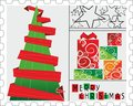 Christmas stamp decoretive card poster Stock Photo
