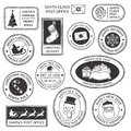 Christmas stamp. Vintage Santa Claus postmark, north pole mail cachet and snowflake symbol on stamps vector illustration Royalty Free Stock Photo