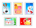 Christmas stamps Royalty Free Stock Photo