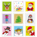 Christmas stamps fun illustrations of with Royalty Free Stock Photos