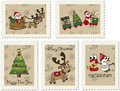 Christmas stamps illustration of with santa claus and reindeer Royalty Free Stock Photos