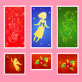 Christmas stamps set Royalty Free Stock Photos