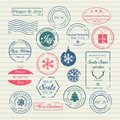 Christmas stamps set vector illustration Stock Images