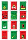 12 Christmas stamps with the twelve days of Christmas