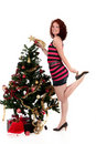 Christmas star. Attractive young woman Stock Image