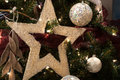 Christmas Star and  ball decoration Stock Photo
