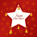 Christmas star with bells on a red background vector illustration Stock Images