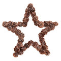 Christmas star decoration of white tipped pine cones Stock Images