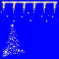 Christmas star design in blue background Royalty Free Stock Images