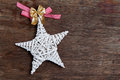 Christmas star on old wooden background Royalty Free Stock Photos