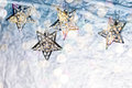 Christmas star-shaped holiday lights hanging on bare branches Royalty Free Stock Photo